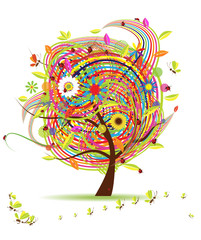 Funny spring tree for your design