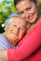 Senior woman and her granddaughter