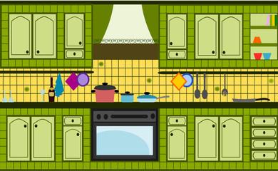 cucina in muratura verde