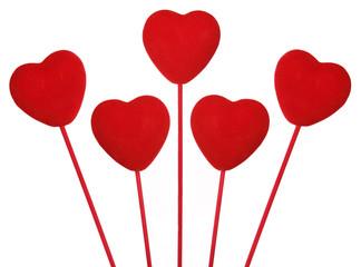 Five love hearts