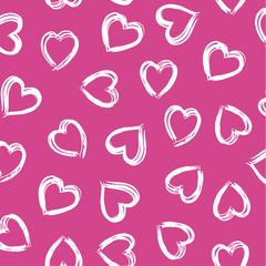 paint brush heart, seamless vector half drop repeat