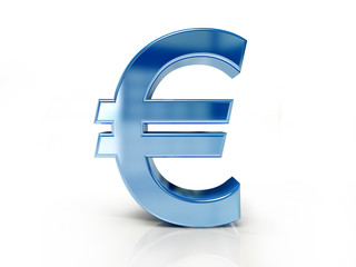 Euro sign isolated white color