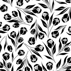 Aluminium Prints Floral black and white tulip flower, seamless vector half drop repeat