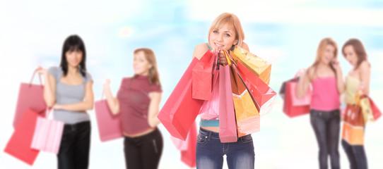 Shopping sexy girls smiling