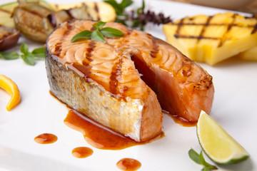 Grilled Teriyaki Salmon Steak