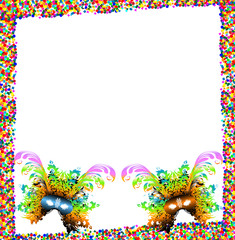 Mardi Grass carnival mask background with copyspace
