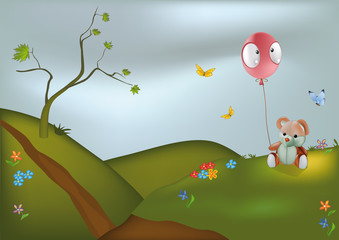 Poster Ours Teddy Bear and Balloon