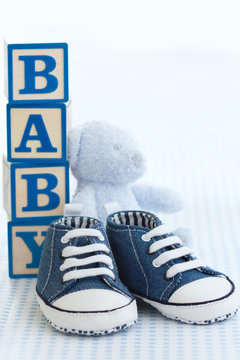 Blue baby shoes
