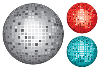 silver, red and turquoise disco ball