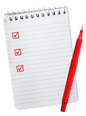 Checklist on Spiral Notebook
