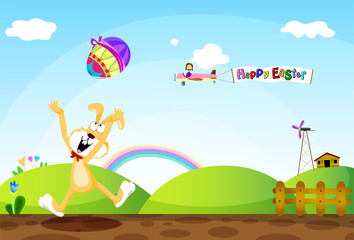 Easter Bunny Throwing Eggs