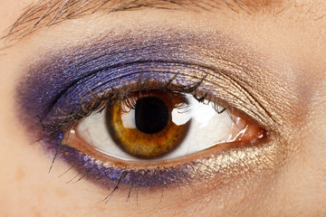 Auge bunt geschminkt