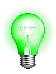 green lightbulb vector illustration