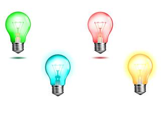 green lightbulb vector illustration