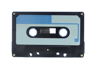 Blue and Black cassette audio tape