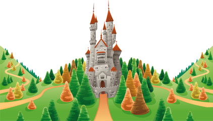 Medieval castle in the land. Cartoon and vector illustration