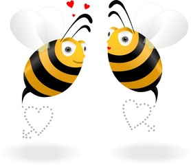 Two lovers bees with heart