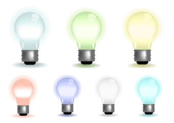 Vector illustration of lightbulbs in various colors