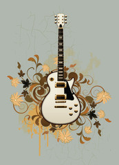 Electric guitar on a retro background