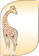 blank with giraffe, vector