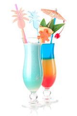 Two tropical cocktails with decoration