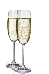Two wineglasses of champagne