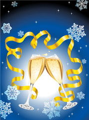 Vector. Christmas postcard with two glass of champagne