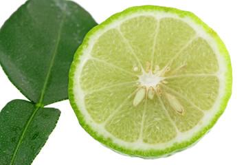rondelle citrus hystrix, combava, agrume, fond blanc