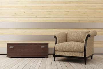 Armchair in the wooden room_2