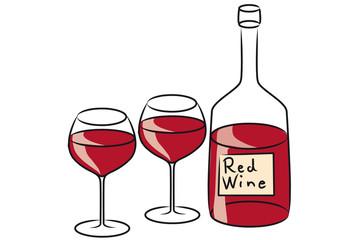 Rotwein mit zwei gefüllten Gläsern