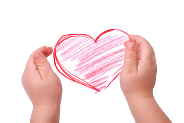 The children's hands is located in heart drawing