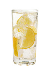 Soda beverage with lemon and ice