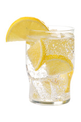 Soda beverage with lemon and ice