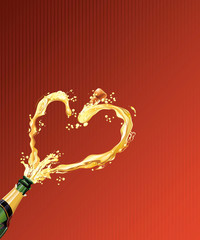 Champagne celebrating for Valentine's day