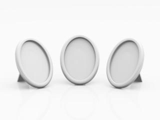 3x Blanko Tisch-Bilderrahmen - rund