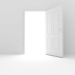 3d white room and door on white