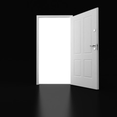 3d white door on black ground