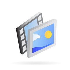 photo and video gallery icon 3d