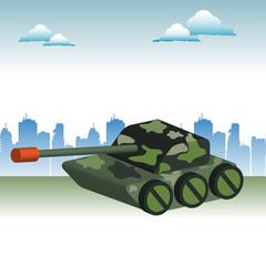 Keuken foto achterwand Militair Camouflaged tank