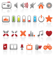 Set of vector multimedia web buttons, icons.