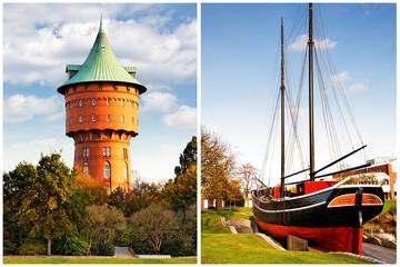 Cuxhaven mit Wasserturm und Museumsschiff Hermine