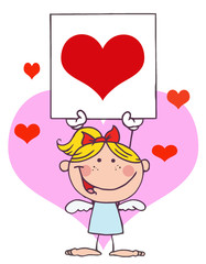Cartoon Stick Cupid Girl with Banner Heart