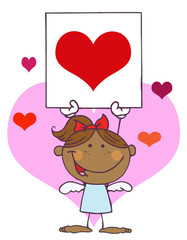 Cartoon Stick African American Cupid Girl with Banner Heart