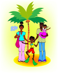 Happy African family on a resort against a palm tree and sky