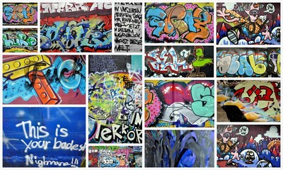 Door stickers Graffiti collage graffiti