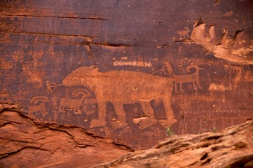 Bear hunt, Fremont Indian petroglyphs, Potash Road, Moab