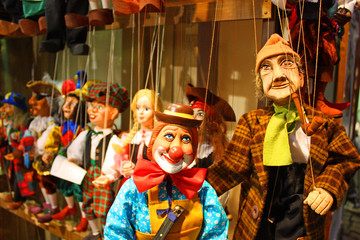 Traditional puppets - clown and old man