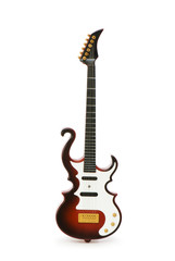 Wood guitar isolated on the white background