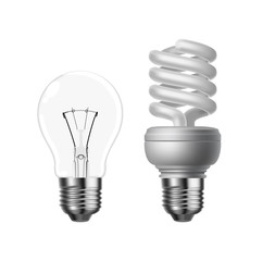 tungsten and energy saving light bulbs