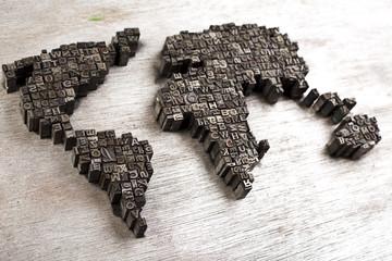 World map  & Printers blocks